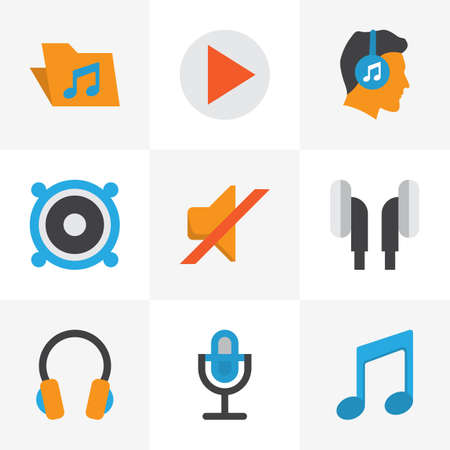 Multimedia icons flat style set with ear muffs, musical, bullhorn and other karaoke  elements.