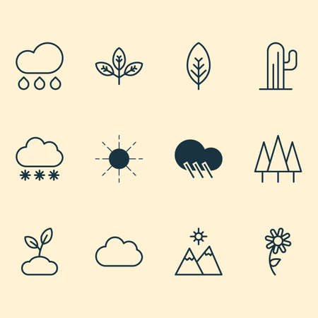 Nature icons set with daisy, overcast, wood and other rain  elements. Stock Photo