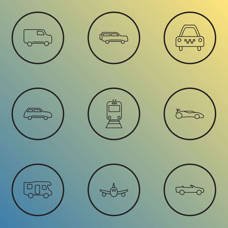 Vehicle icons line style set with taxi, city car, plane and other cab