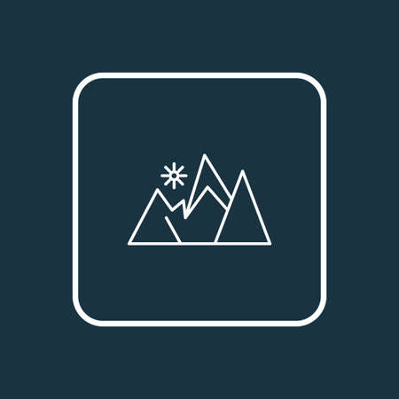 Mountains icon line symbol. Premium quality isolated peak element in trendy style.