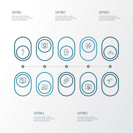 School icons line style set with meteorology, distance leaning, archaeology and other streaming   elements. Isolated vector illustration school icons.