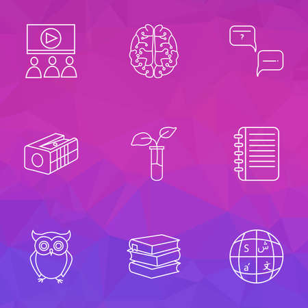 Education icons line style set with neurobiology, question with answer, notepad and other movie watching