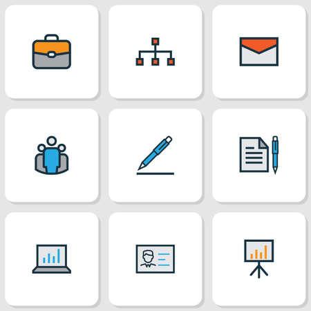 Business icons colored line set with bag, financial data, bar diagram and other billboard presentation  elements. Isolated vector illustration business icons. Illustration