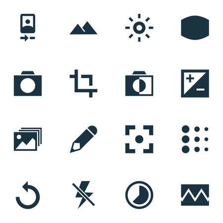 Picture icons set with edit, photographing, monochrome and other center focus