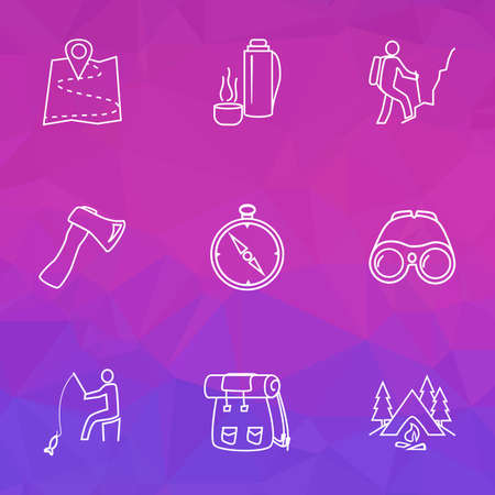 Tourism icons line style set with binoculars, hiking man, axe and other fisherman