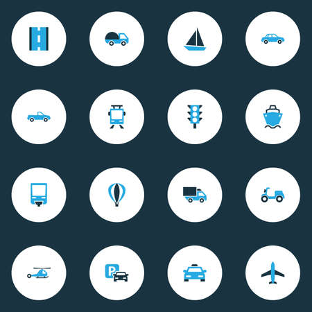 Transport icons colored set with moped, sailing ship, bogie and other way  elements. Isolated vector illustration transport icons.