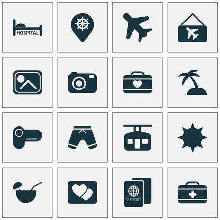Travel icons set with camcorder, photo, first aid kit and other clinic   elements. Isolated vector illustration travel icons. Ilustração