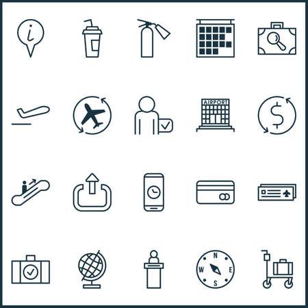 Travel icons set with logout, reception, escalator up and other globetrotter   elements. Isolated vector illustration travel icons. Ilustração