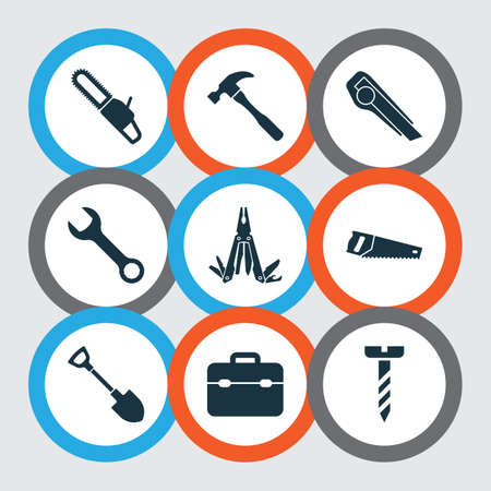 Tools icons set with chainsaw, utility knife, toolbox and other repair   elements. Isolated vector illustration tools icons.