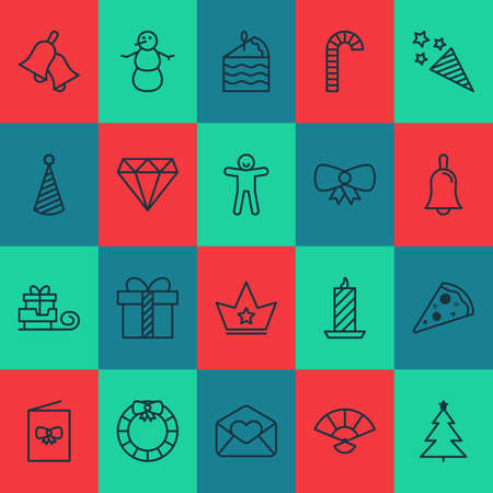 Happy icons set with crown, bell, door decoration and other toboggan  elements. Isolated  illustration happy icons. Stock Photo
