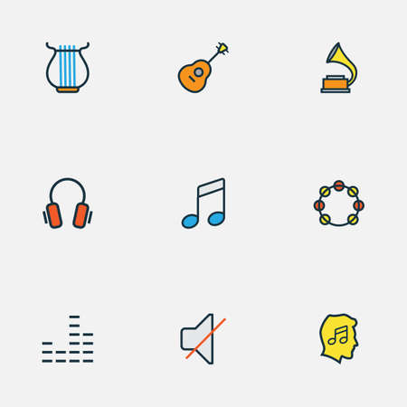 Multimedia icons colored line set with strings, notes, fanatic and other harp 