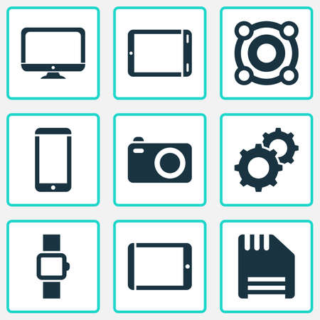 Device icons set with palmtop, camera, tablet and other speaker  elements. Isolated  illustration device icons.