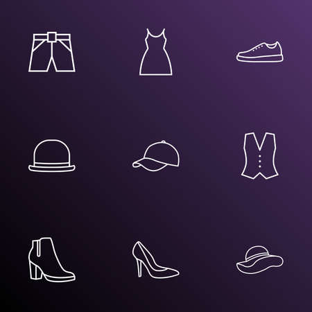Clothes icons line style set with  vest, female boots and other fedora  elements. Isolated vector illustration clothes icons.