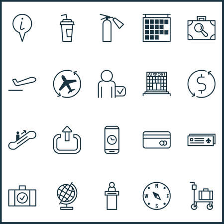 Airport icons set with logout, reception, escalator up and other globetrotter  elements. Isolated  illustration airport icons.