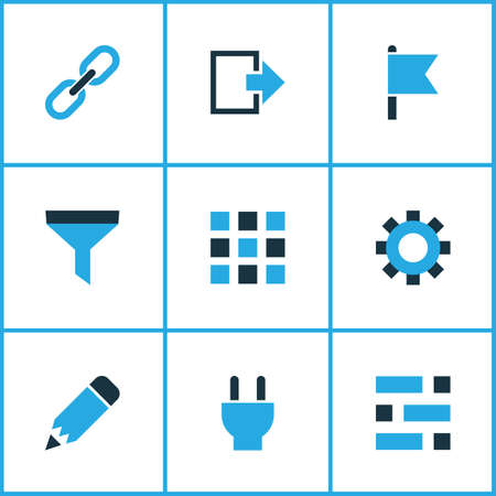 Interface icons colored set with filter, dashboard, plug and other strainer