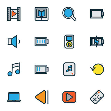 Multimedia icons colored line set with music, low battery, replay and other empty accumulator  elements. Isolated vector illustration multimedia icons. 일러스트