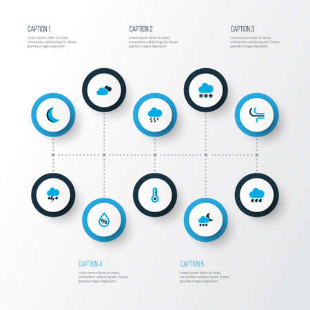 Weather icons colored set with overcast, drop, snow and other rainfall  elements. Isolated  illustration weather icons. 版權商用圖片