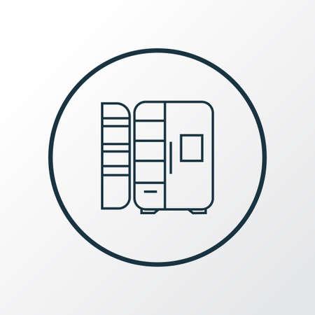 Fridge icon line symbol. Premium quality isolated refrigerator element in trendy style. Vettoriali