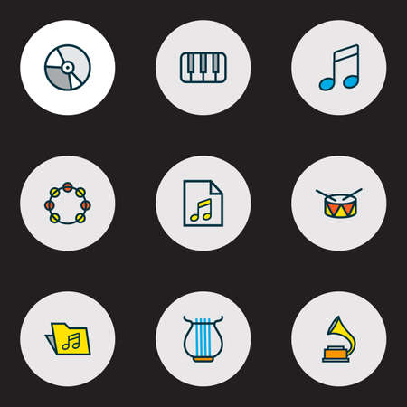Audio icons colored line set with piano, drum, folder and other list  elements. Isolated vector illustration audio icons. Illustration