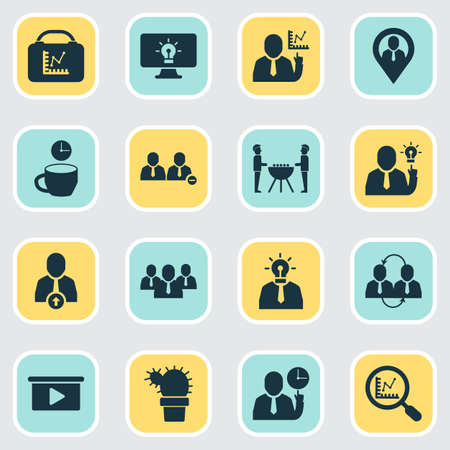 Work icons set with upward leveling, teamwork, creative person and other magnifier   elements. Isolated vector illustration work icons. Illustration