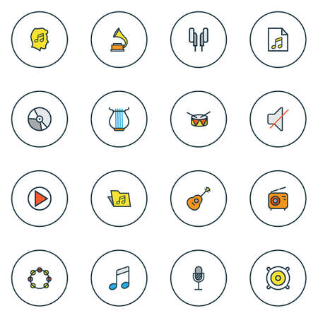 Audio icons colored line set with vinyl, phonograph, strings and other strings