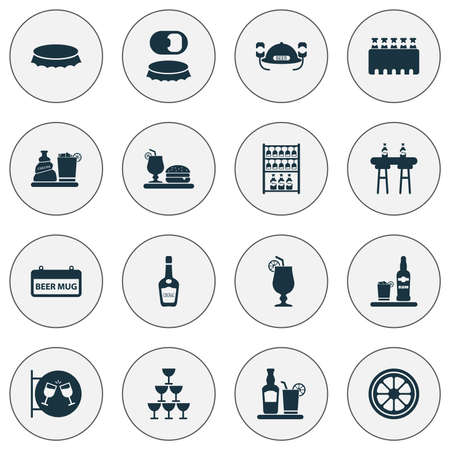 Drink icons set with signboard, glasses, bottle opener and other liqueur  elements. Isolated  illustration drink icons.