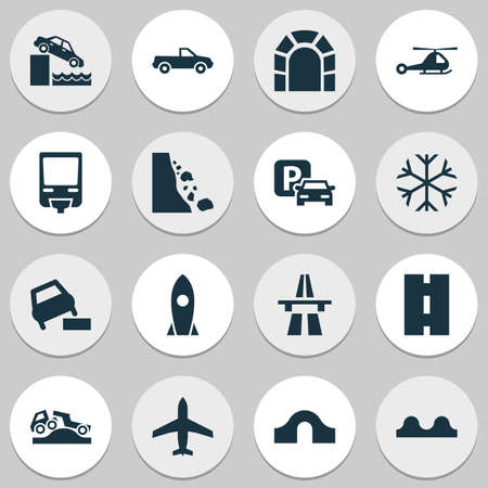 Transport icons set with hump bridge, dangerous, pickup and other vehicle
