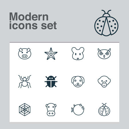 Zoology icons set with mouse, owl, cow and other puppy elements. Isolated vector illustration zoology icons.