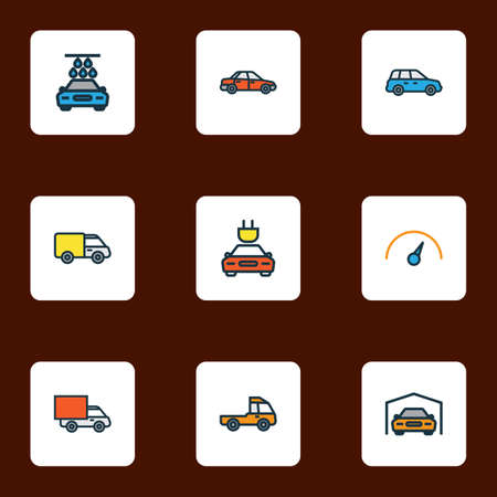 Car icons colored line set with crossover, tesla, sedan and other speed elements. Isolated vector illustration car icons.