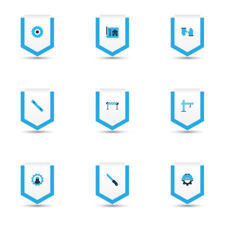 Industry icons colored set with barrage, conversation level, house drawing and other gear with helmet  elements. Isolated vector illustration industry icons.