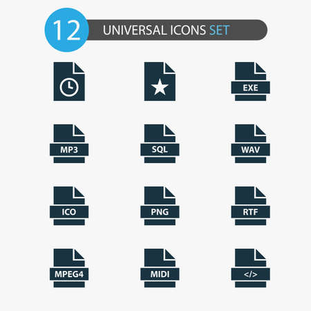 File icons set with code, wav, favorite and other script elements. Isolated illustration file icons. Archivio Fotografico - 113126155