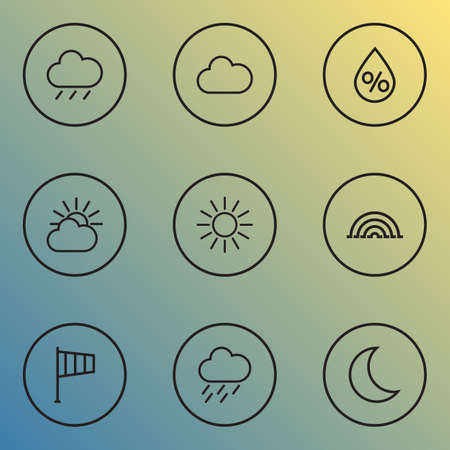 Climate icons line style set with flag, overcast, arc and other rain elements. Isolated illustration climate icons. 版權商用圖片