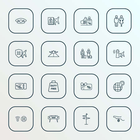 Transportation icons line style set with control tower, toilet, no network and other commercial  elements. Isolated vector illustration transportation icons. Illustration
