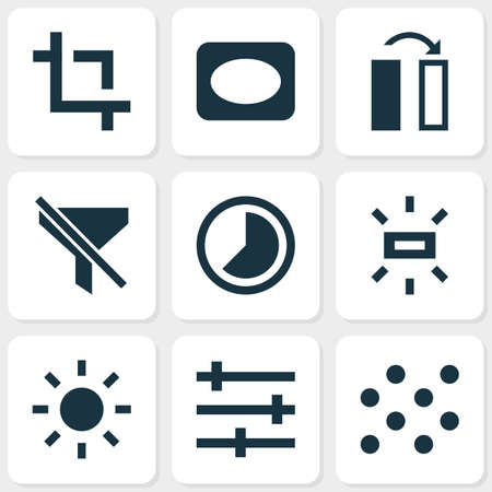 Picture icons set with vignette, wb sunny, pattern and other accelerated   elements. Isolated vector illustration picture icons.