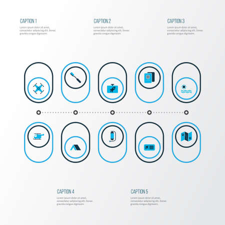 Journey icons colored set with flask, airplane ticket, sea and other hygiene   elements. Isolated vector illustration journey icons.