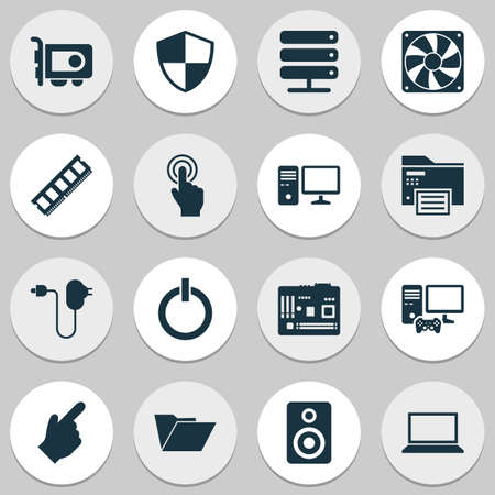 Computer icons set with printing machine, server, folder and other forefinger   elements. Isolated vector illustration computer icons. Ilustração