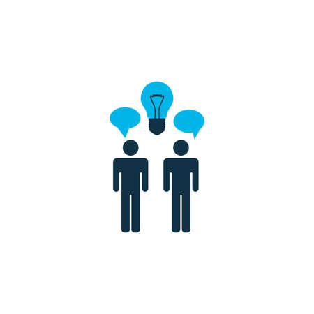 Idea brainstorming icon colored symbol. Premium quality isolated discussion element in trendy style.