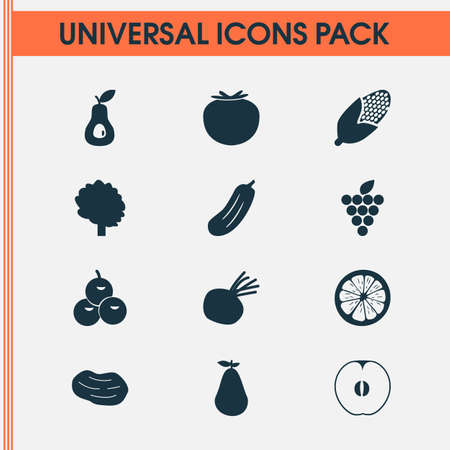 Food icons set with olives, grapes, tree and other lime elements. Isolated vector illustration food icons.