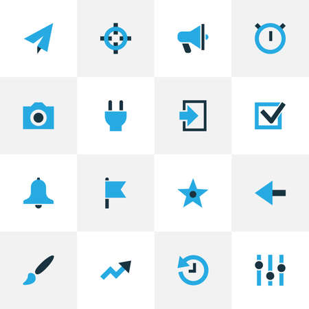 User icons colored set with history, plug, flag and other goal elements. Isolated illustration user icons. Stock Photo
