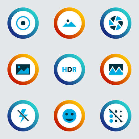 Photo icons colored set with image, tag face, landscape dartboard  elements. Isolated vector illustration photo icons.
