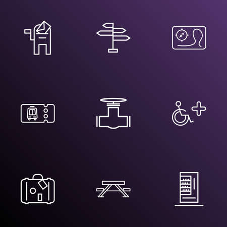 Urban icons line style set with disabled sign, pipeline, map and other vend appliance elements. Isolated illustration urban icons.