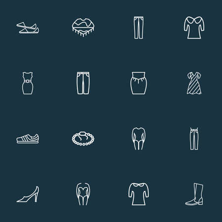 Fashionable icons line style set with long sleeve body, pump shoes, trainer shoes and other swimwear elements. Isolated vector illustration fashionable icons. Stock Photo