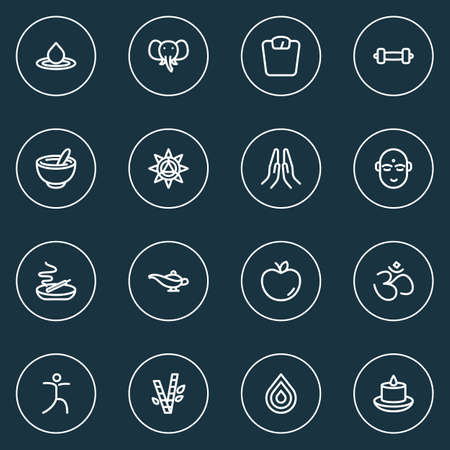 Relax icons line style set with lamp, prayer, dumbbell and other Indian man elements. Isolated vector illustration relax icons.