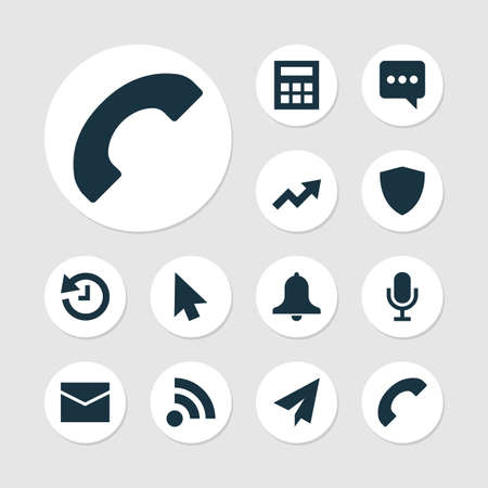 User icons set with audio, call, mail and other increase elements. Isolated illustration user icons.