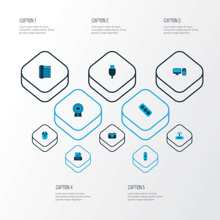 Hardware icons colored set with PC, web cam, printer and other computer elements. Isolated  illustration hardware icons.