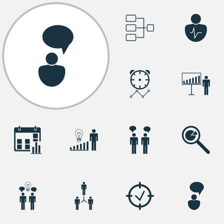Management icons set with personality traits, statistic research, connection network and other approved target  elements. Isolated vector illustration management icons.