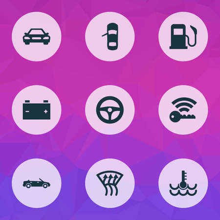 Car icons set with battery, temperature, windscreen defrost and other auto