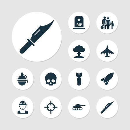 Battle icons set with soldier, knife, sniper and other aircraft elements. Isolated vector illustration battle icons.