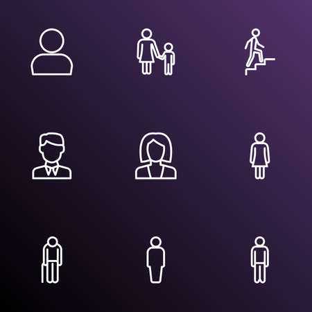 People icons line style set with businessman, oldster, human and other man
