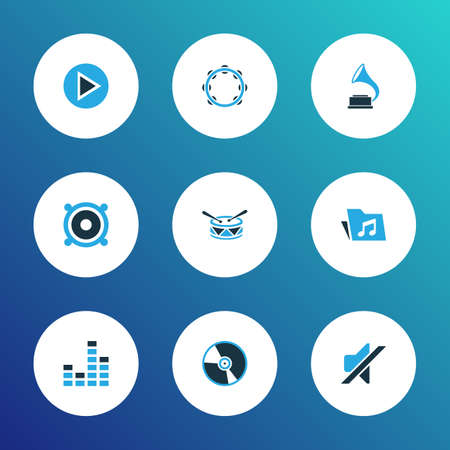 Multimedia icons colored set with megaphone, equalizer, phonograph and other tambourine elements. Isolated illustration multimedia icons.